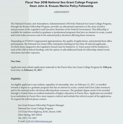 Fiscal Year 2018 National Sea Grant College Program Dean John A. Knauss Marine Policy Fellowship
