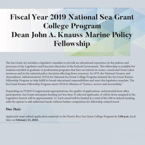 Fiscal Year 2019 National Sea Grant College Program Dean John A. Knauss Marine Policy Fellowship