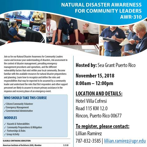 Natural Disaster Awareness for Community Leaders AWR-310