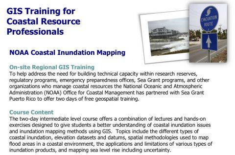 GIS Training for Coastal Resource Professionals – NOAA Coastal Inundation Mapping