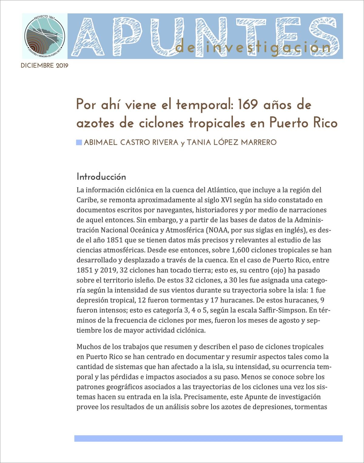 Por ahí viene el temporal: 169 años de azotes de ciclones tropicales en Puerto Rico