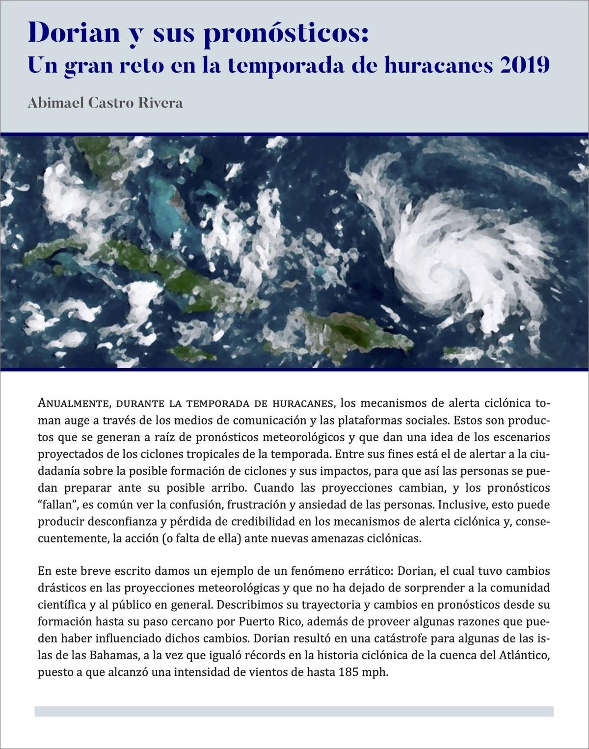 Dorian y sus pronósticos: Un gran reto en la temporada de huracanes 2019