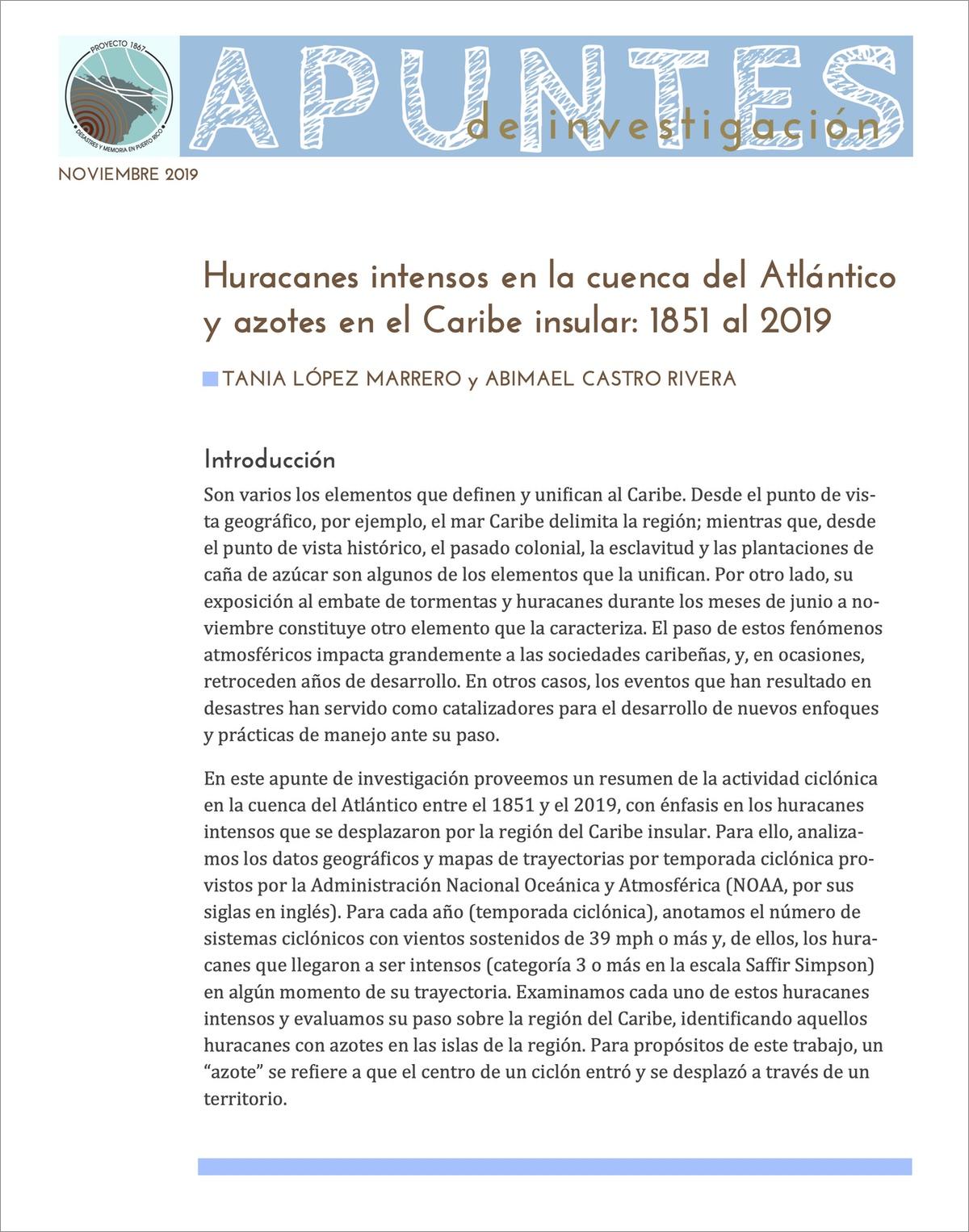 Huracanes intensos en la cuenca del Atlántico y azotes en el Caribe insular: 1851 al 2019