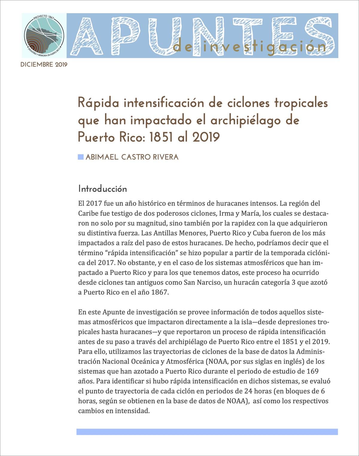 Rápida intensificación de ciclones tropicales que han impactado el archipiélago de Puerto Rico: 1851 al 2019